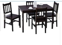 Costway 5PSC solid pinewood dining set. Hamilton