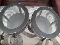 Two round gray wooden framed glass top tables Edmonton, T5H
