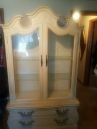 RARE Vintage hickory furniture China Cabinet closet off white