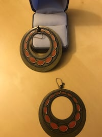 Circular rubbed bronze earrings with orange accent  Arlington, 22209