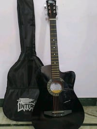 black acoustic guitar, mint condition, almost new 13684 km