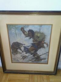 brown wooden framed painting of man and woman Toronto, M3J 1V6