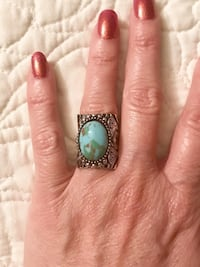 Sterling Silver Overlay and Turquoise Ring Sz 7 Greenville, 29617