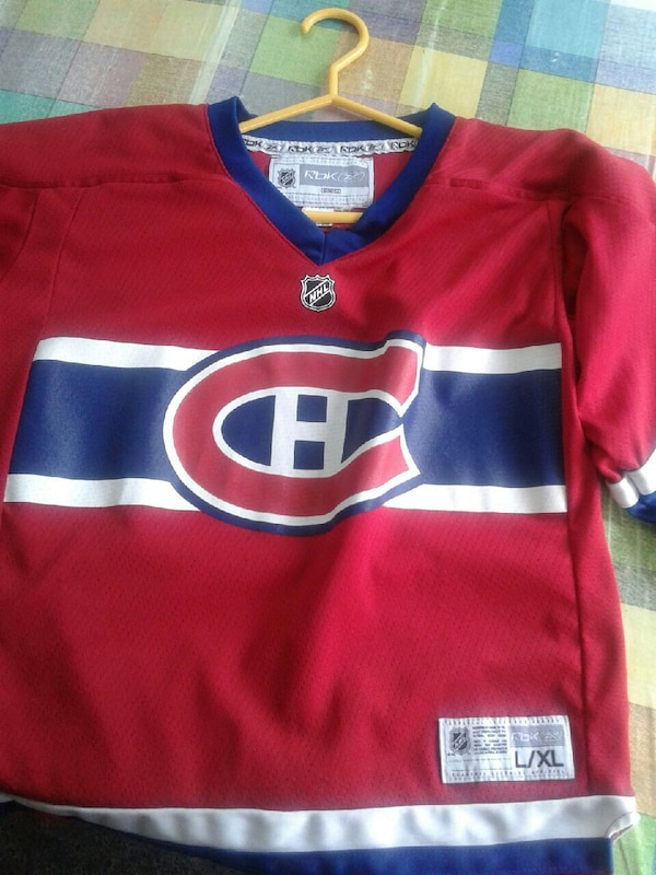 red and blue NHL jersey shirt
