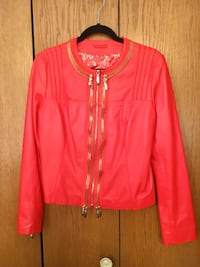 Red leather gold zippered jacket- ladies