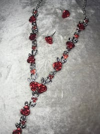 Rose Necklace and Earring Jewelry Set