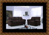 Chocolate microfiber sofa and loveseat Laurel