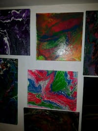two red and green abstract paintings Edmonton, T5B 3H7