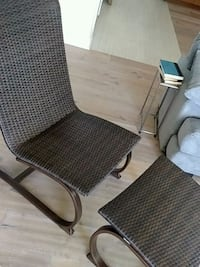 2 plastic wicker patio chairs w/ ottomans Union Pier, 49129