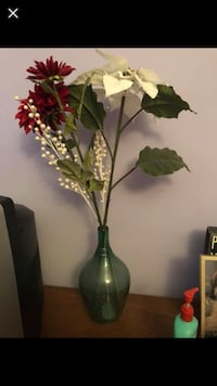 white and red artificial flowers with green glass vase Chesterfield, 63017