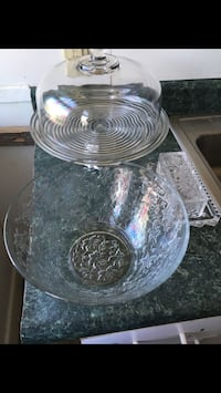 Glass cake stand with lid butter dish and candy dish