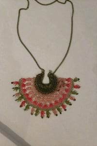 white and red floral pendant necklace Toronto, M4K 3N2