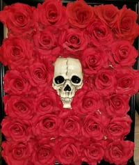 Black wooden framed Roses and Skull  Sulphur