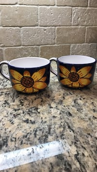 Two navy coffee mugs with yellow flowers Charlotte, 28203