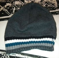 gray black white and blue striped knit cap!!!