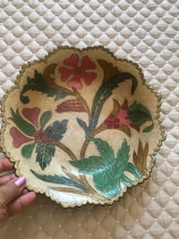 """Brass enameled bowl 11"""" wide. Scalloped edges. From India Potomac, 20854"""