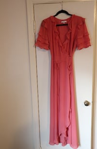 Ruffled Coral Maxi wrap dress Calgary