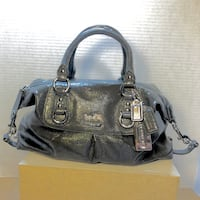 Coach Madison Sabrina 14178 Patent Leather Handbag Shoulder Bag Tote Graphite Milpitas