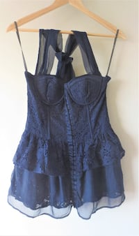 Authentic Twelve Coutour Navy Lace and Chiffon Peplum Top Toronto