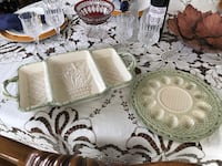 Easter serving dish and deviled egg plate