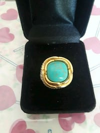 Turquoise two tone rhodium ring. Euless, 76040