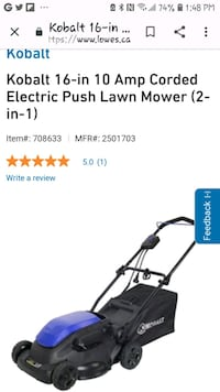 Brand new kobalt corded lawn mower