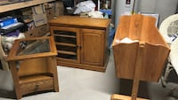 brown wooden cradle with cabinet and end table
