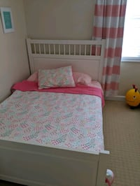 White Full Size Bed Frame/Bedding/Mattress available