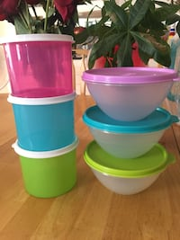 three green, pink, and blue plastic containers Los Angeles, 90001