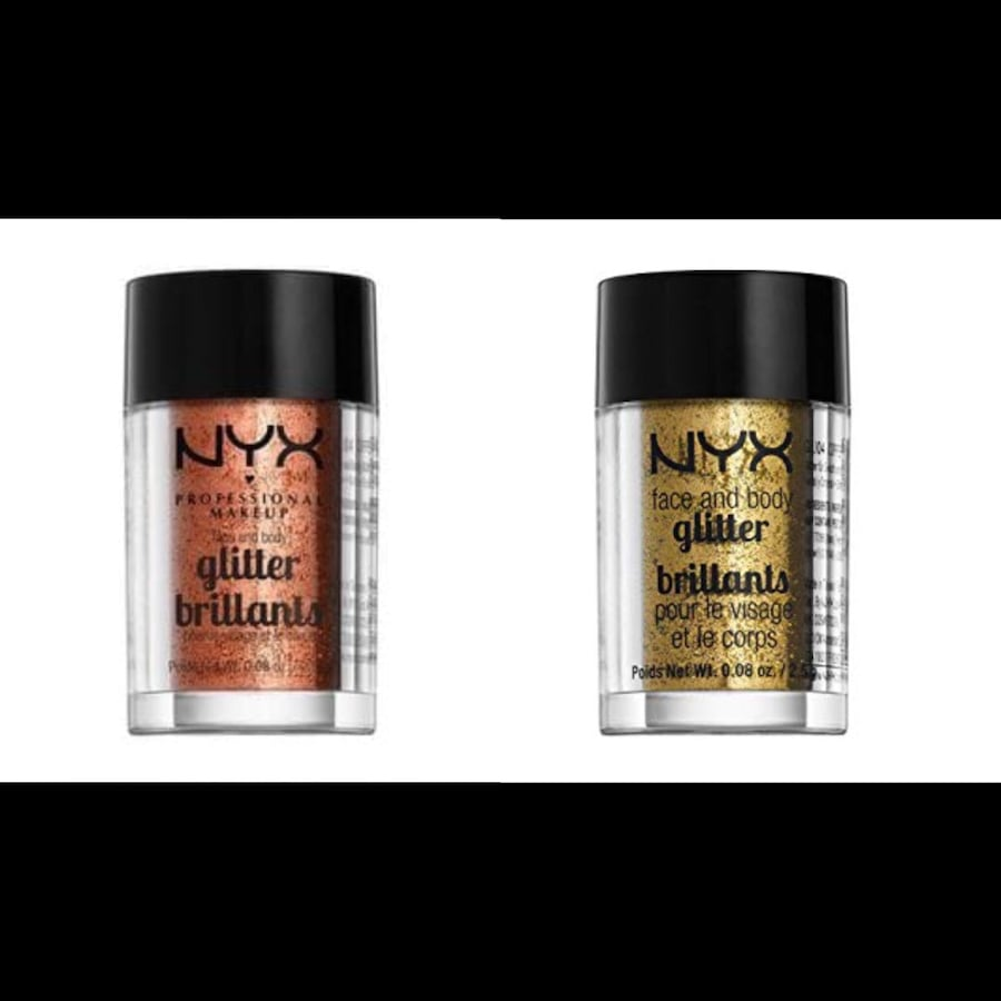 Brand new nyx face and body glitters in copper and gold