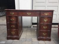 Vintage wood desk with 8-drawers