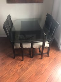 Rectangular glass top table with four chairs dining set Los Angeles, 91405