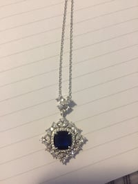 silver-colored and blue gemstone pendant necklace Edmonton, T5A 4R9