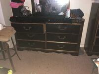 Black wooden dresser with mirror and chest  300 obo Baltimore, 21206