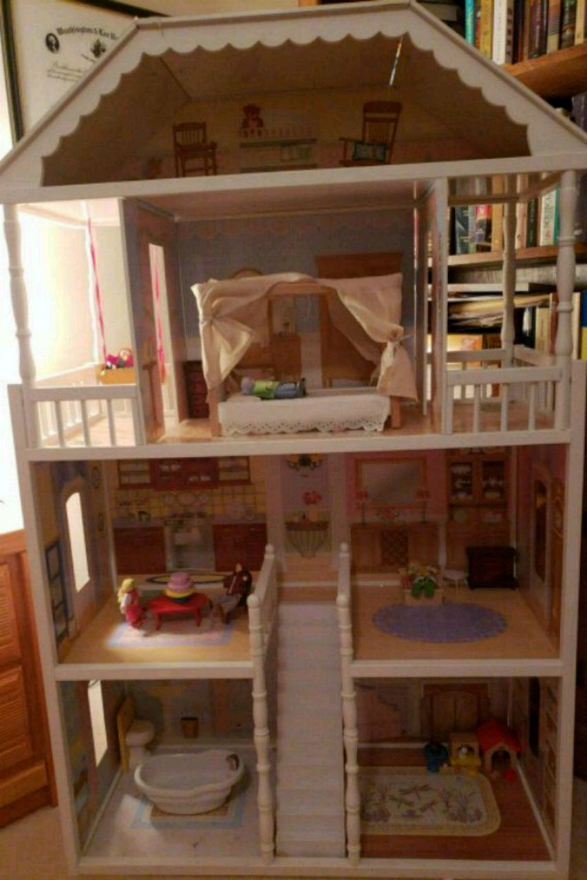 white and brown wooden dollhouse for sale  Wexford