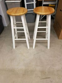 two brown-and-white wooden stools Toronto, M1K 4N4