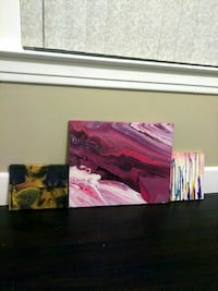 Three abstract paintings 16x20 and 8x10s canvas