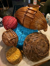 four brown wicker baskets with red and blue wicker baskets Akron, 44314