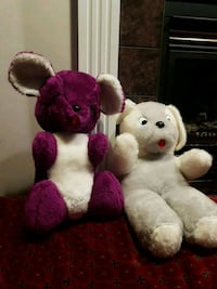 two pink and white bear plush toys Calgary, T3K 4P9