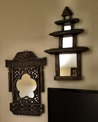 2 Tibetan Wood Wall Decor Mirrors  Fort Myers