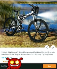 26 inch 36v 7 speed foldable electric mountain bike  Washington, 20002
