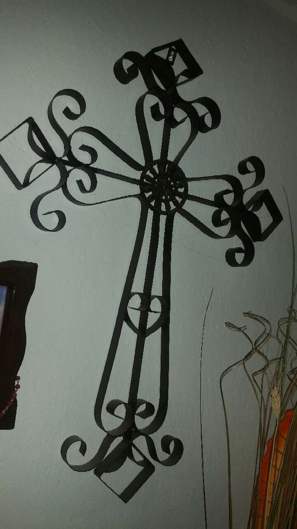 Used Black Wrought Iron Cross Wall Decor For Sale In Walnut Creek