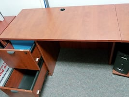 L Shaped Work Desk with two File Cabinets attached