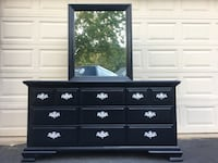 Kinlea Solid Wood 9 Drawer Long Dresser With Mirror Black With Silver Handles  Manassas, 20112