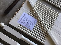 Oak (painted white) spindles, handrails,Newell's, and hardware, all in mint condition ready to go Brampton, L6X 4K4