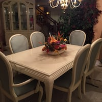 rectangular white wooden table with six chairs dining set Crest Hill, 60403