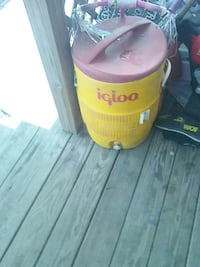 Yellow and red igloo beverage dispenser