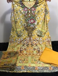 Pakistani embroidered cotton lawn dress with soft chiffon printed dupatta  Montréal, H3N 1A6
