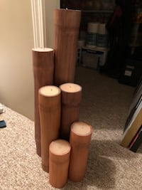 brown wooden candle holder and white pillar candle Vancouver, V5R 5B6
