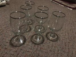 6 wine glasses with silver rims